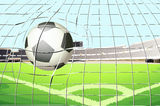 A ball hitting the soccer goal Stock Photography