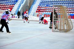 Ball hockey. Russian Premier League match ball hockey:  Lokomotiv  Orenburg  –  Universal  Saratov. 12.01.2013, city of Orenburg, Southern Ural, Russia Stock Image