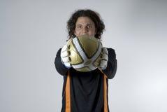 ball holding horizontal man soccer Στοκ Φωτογραφία
