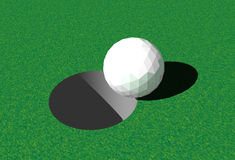 Ball in Hole. Golf ball entering the Hole. 3D rendered image stock illustration