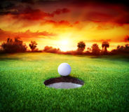 Ball In Hole - Golfing - Target Royalty Free Stock Image