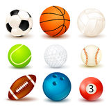 Ball Icon Set. 3d shape ball icon set with shadows  on the theme of various sports games vector illustration Stock Image