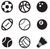 Ball Icons. Set of sport ball icons. Black icons on white background vector illustration