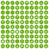 100 ball icons hexagon green. 100 ball icons set in green hexagon isolated vector illustration Royalty Free Stock Photos