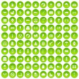 100 ball icons set green circle. Isolated on white background vector illustration Stock Image