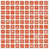 100 ball icons set grunge orange. 100 ball icons set in grunge style orange color isolated on white background vector illustration Royalty Free Stock Image