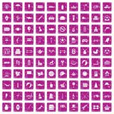 100 ball icons set grunge pink. 100 ball icons set in grunge style pink color isolated on white background vector illustration Royalty Free Stock Photos