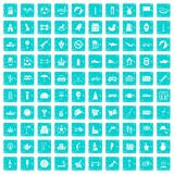 100 ball icons set grunge blue. 100 ball icons set in grunge style blue color isolated on white background vector illustration Stock Illustration