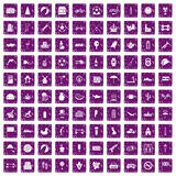100 ball icons set grunge purple. 100 ball icons set in grunge style purple color isolated on white background vector illustration Stock Photography
