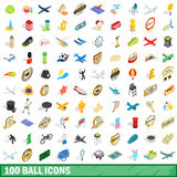 100 ball icons set, isometric 3d style Royalty Free Stock Photo