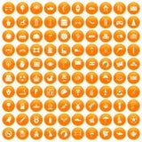 100 ball icons set orange. 100 ball icons set in orange circle isolated on white vector illustration Stock Photo