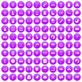 100 ball icons set purple. 100 ball icons set in purple circle isolated on white vector illustration Royalty Free Stock Photo