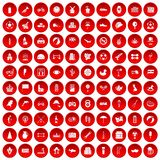 100 ball icons set red. 100 ball icons set in red circle isolated on white vector illustration Vector Illustration