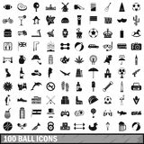 100 ball icons set, simple style. 100 ball icons set in simple style for any design vector illustration Stock Photography