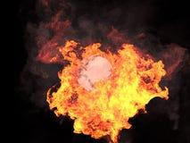 Ball im Feuer Stockbild