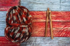 Ball of knitting wool and needles Stock Images