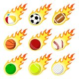 Ball label flame sticker set flat style Stock Photos