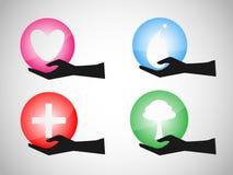 Ball life logo on hand. EPS 10 Vector Vector Illustration