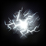 Ball lightning. Thunder isolated on transparent background. Royalty Free Stock Photography