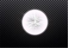 Ball lightning. Thunder  on transparent background. Thunderbolt in sky. Electricity blast storm. Electric flash. Of lightning.Vector illustration Royalty Free Stock Photo