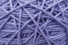 Ball of lilac yarn. Closeup texture stock photo