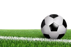 Ball on line in field. Soccer football ball on a whte line of green grass field. Photo realistic grass and classic black and white ball. Grass football wallpaper Stock Image
