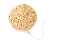 Ball of linen thread. Ball of non colored linen thread with tail Stock Image