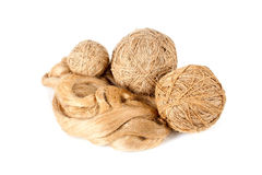 The ball of linen yarn and raw flux Stock Image