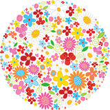 Ball made of flowers. Circle shape made by colorful flowers on white Stock Image