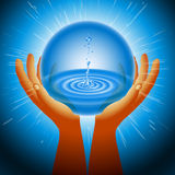 Ball Magic Ecology Water Hand Flash Light Background Royalty Free Stock Photography