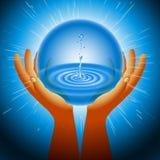 Ball-magischer Ökologie-Wasser-Handblitzlicht-Hintergrund Lizenzfreie Stockfotografie