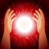 Ball-magischer Energie-Handblitzlicht-Hintergrund Stockfoto