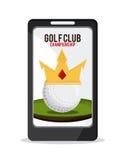 Ball mit Kronenikone Golfsportdesign Dekorativer Hintergrund als stilisiert Strudel der Wellen lizenzfreie abbildung