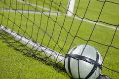 Ball in the Net. A football in the net. The goal was fulfilled Stock Photos