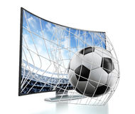 Ball and net going out of curved TV with OLED screen Stock Photos