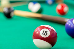 Ball number 15 on the table of billiard Royalty Free Stock Photo