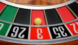 Ball in number three. Ball in winning number three at roulette wheel royalty free stock photography