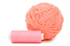 Ball Of Threads Isolated Over White Stock Photos
