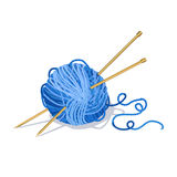 Ball Of Yarn And Knitting Needles Isolated Royalty Free Stock Images