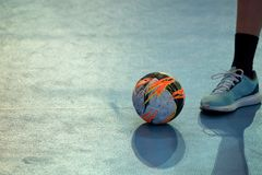 Free Ball On Court During A Break Of Handball Match Stock Photo - 114090410