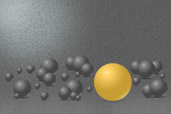 Ball with one gold ball and metal background. Pattern of brushed silver metal background with dark grey balls with shadows in the lower part of the figure Stock Photo