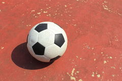 Ball on the outdoor futsal court Royalty Free Stock Image