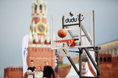 Ball over basket in game during Dudu Streetbasket fest Royalty Free Stock Photos