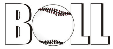Ball peek up from letters. White ball of baseball stick out from word baseball Royalty Free Stock Images