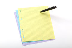 Ball pen and color paper Stock Images