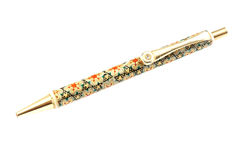 The ball pen decorated in khatam technics. Stock Photos