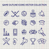 Ball pen game outline icons set Royalty Free Stock Images