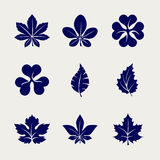 Ball pen imitation leaves icons set. Design. Vector sketch icons Royalty Free Stock Images