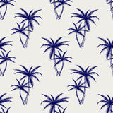 Ball pen imitation palms seamless pattern. Sketch palm background vector illustration Stock Images