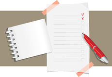 Ball pen, notepad and application form template stock photography